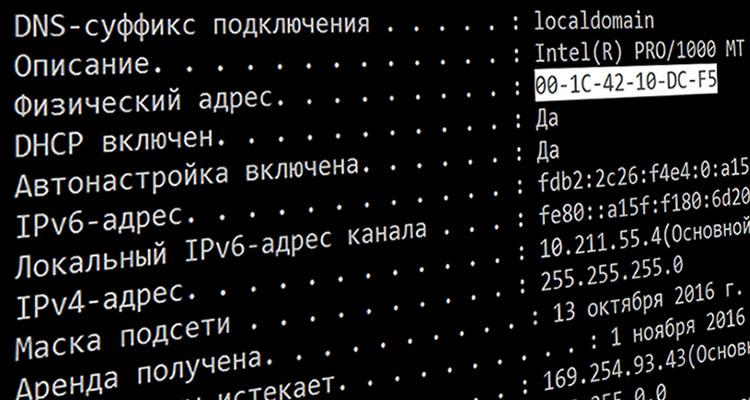 Меняем MAC-адрес сетевой карты компьютера в Windows